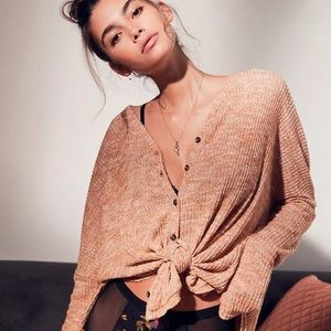 UO Out From Under Jojo Oversized Waffle Knit Button-Front Top in Camel M